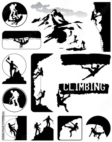 Climbers icons vector collection in black and white - 70081580