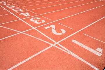 Rubber running lane for sprint or race
