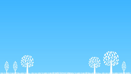 樹木 ブルー背景