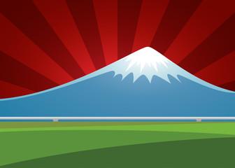 Fuji volcano landscape on the background sunburst. vector illust