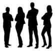 Silhouette Business People Standing With Arms Crossed - 70082396