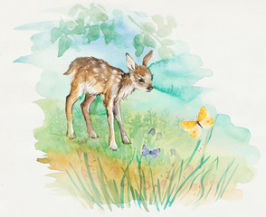 Deer baby with butterflies. Decoration with wildlife scene.