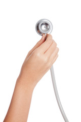 Hand and stethoscope