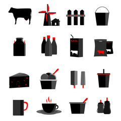 icons set milk, dairy products, production vector illustration