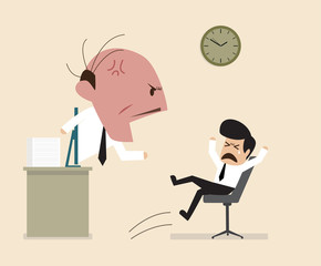 Angry Boss is shouting to his employee via online connection