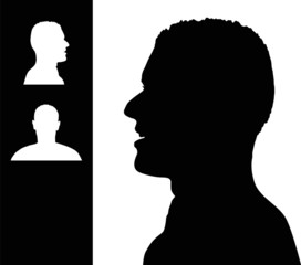 Smiling man head silhouette