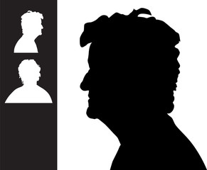 Old woman head silhouette