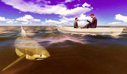 businessmen onboat with shark
