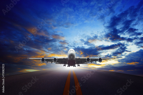 canvas print picture jet plane take off from urban airport runways use for air transp