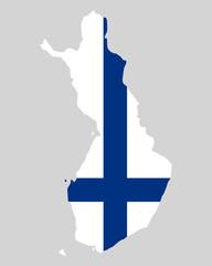 Karte und Fahne von Finnland
