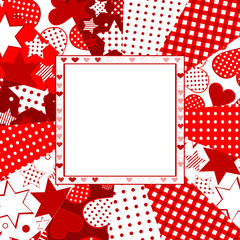 Valentine celebration card with hearts, stars and dots