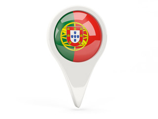 Round flag icon of portugal