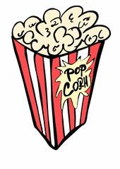 doodle paper bag full of popcorn
