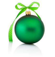 Green Christmas ball with ribbon bow Isolated on white backgroun