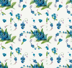 Seamless pattern of forget-me-not.