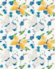 Seamless pattern of forget-me-not and butterflies.