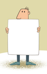 A man is holding a white sign