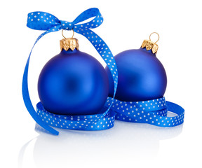 Two blue Christmas ball with ribbon bow Isolated on white backgr