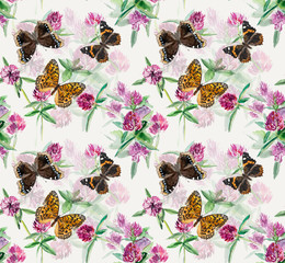 Seamless pattern of clover. Flowers and butterflies