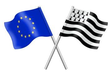 Drapeaux: Europe et Bretagne