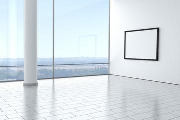 Raum leer hell modern mit Bilderrahmen Fliesen
