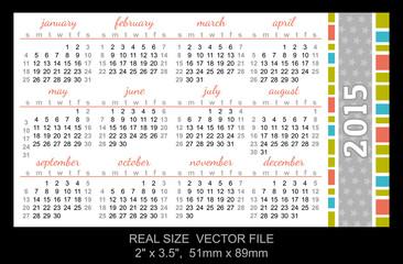 pocket calendar 2015, start on Sunday