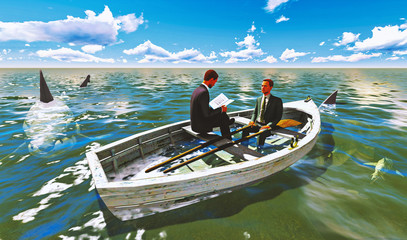 businessmen on boat with shark