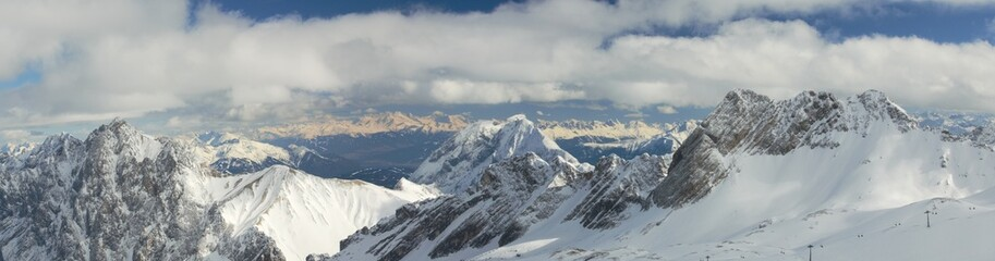 Panorama of  Snow Capped Mountain Peaks in the German Alps