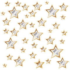 White background with shiny golden stars