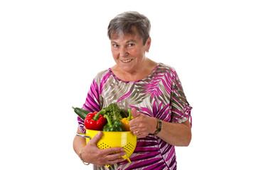 Seniorin mit Gemüse - Senior woman with vegetables