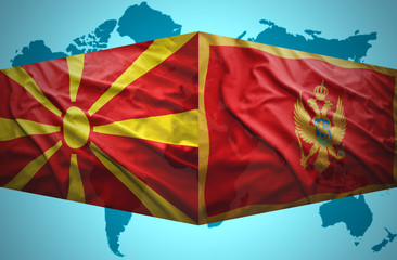 Waving Montenegrin and Macedonian flags