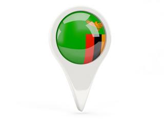 Round flag icon of zambia