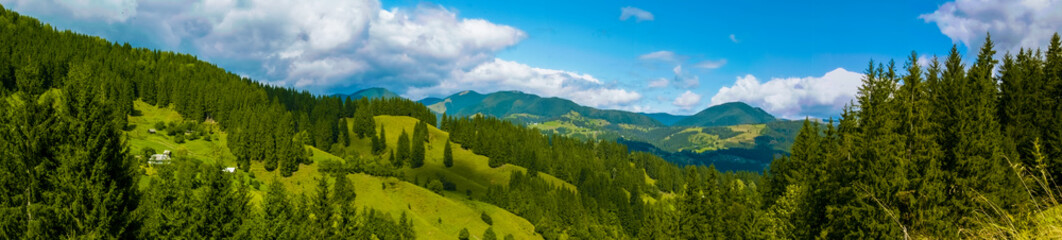 Mountain panorama of the Ukrainian Carpathians