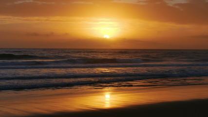 Waves Crashing on Beach, sunset
