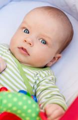 portrait of a cute baby lying in pram