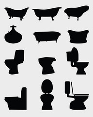 Silhouettes of toilet bowl and bathtubs, vector