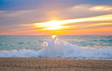 Beautiful sunset at the ionian sea.