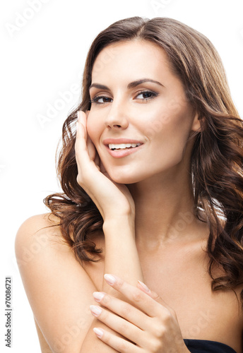 canvas print picture Woman touching skin or applying cream, isolated