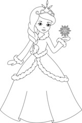 winter princess coloring page
