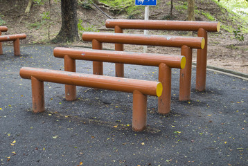 the parallel bar exercise equipment in the park