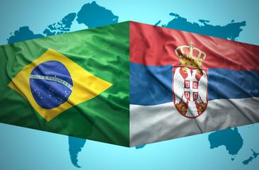 Waving Serbian and Brazilian flags