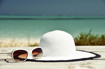 Hat and sunglasses. Exuma, Bahamas