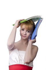 young and skinny blonde student with colored folders