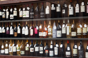 Showcase of alcohol store in Logrono. Spain