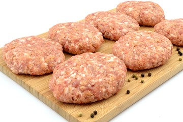 raw minced meat for pork chops