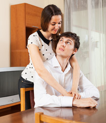 Portrait of joyful young couple