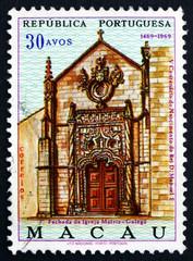 Postage stamp Macau 1969 Portal of Mother Church, Golega
