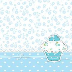 Blue background with cupcake