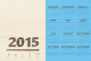 Simple calendar on shelf wood background and business icon,