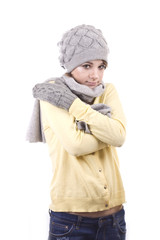 young girl in winter hat with surprise on his face
